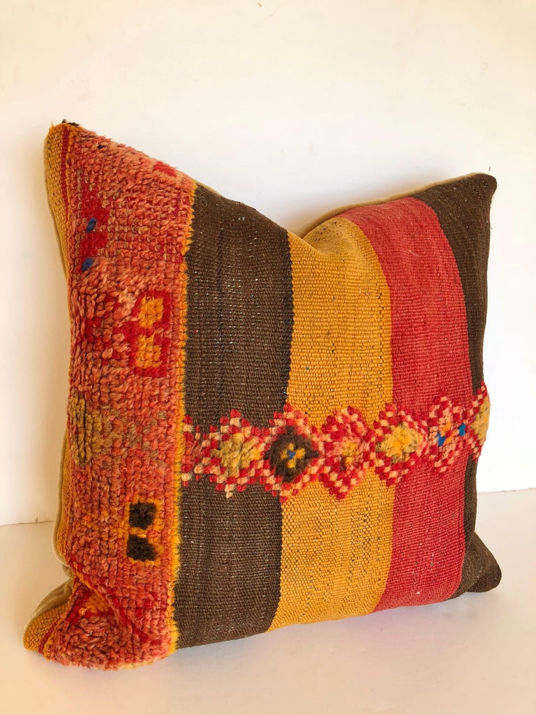 Custom Pillow by Maison Suzanne Cut from a Vintage Moroccan Wool Rug For Sale 1