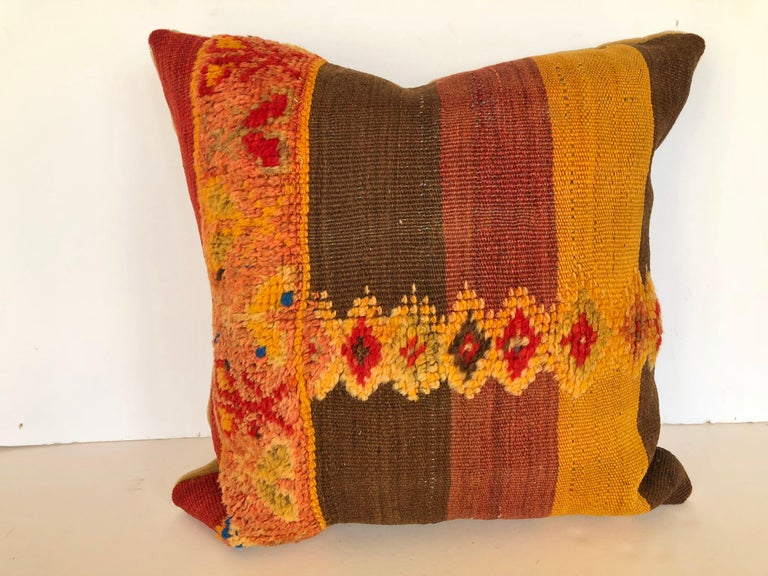 Custom Pillow by Maison Suzanne Cut from a Vintage Moroccan Wool Rug For Sale 2