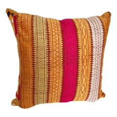 Custom Pillow Cut from a Vintage Phulkari Bagh Silk Embroidered Wedding Shawl