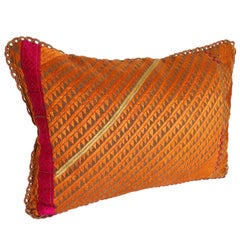 Custom Pillow Cut from a Vintage Phulkari Bagh Wedding Shawl, Punjab, India