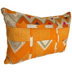 Custom Pillow Cut from a Vintage Silk Embroidered Phulkari Bagh Wedding Shawl