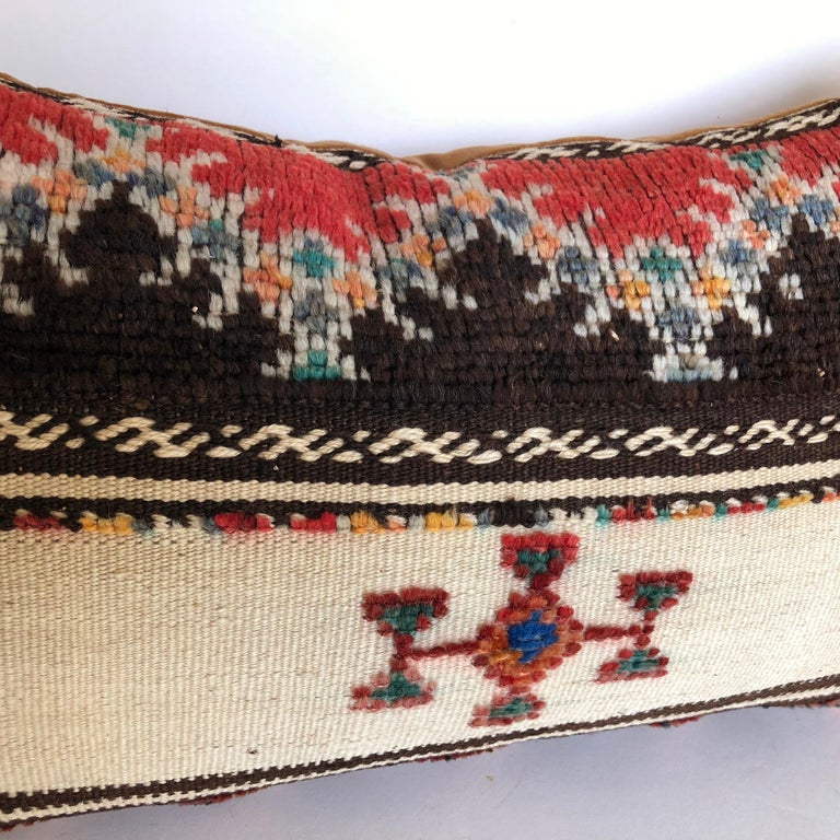 Hand-Woven Custom Pillow Cut from a Vintage Wool Moroccan Glaoui Rug, Atlas Mountains For Sale