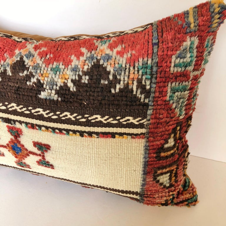 Custom Pillow Cut from a Vintage Wool Moroccan Glaoui Rug, Atlas Mountains In Good Condition For Sale In Glen Ellyn, IL