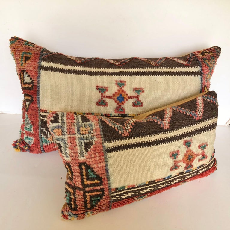 20th Century Custom Pillow Cut from a Vintage Wool Moroccan Glaoui Rug, Atlas Mountains For Sale
