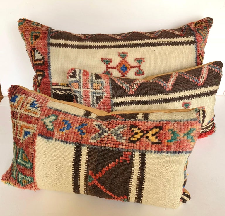 Custom Pillow Cut from a Vintage Wool Moroccan Glaoui Rug, Atlas Mountains For Sale 2