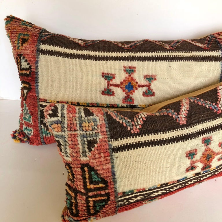 Custom Pillow Cut from a Vintage Wool Moroccan Glaoui Rug, Atlas Mountains For Sale 3