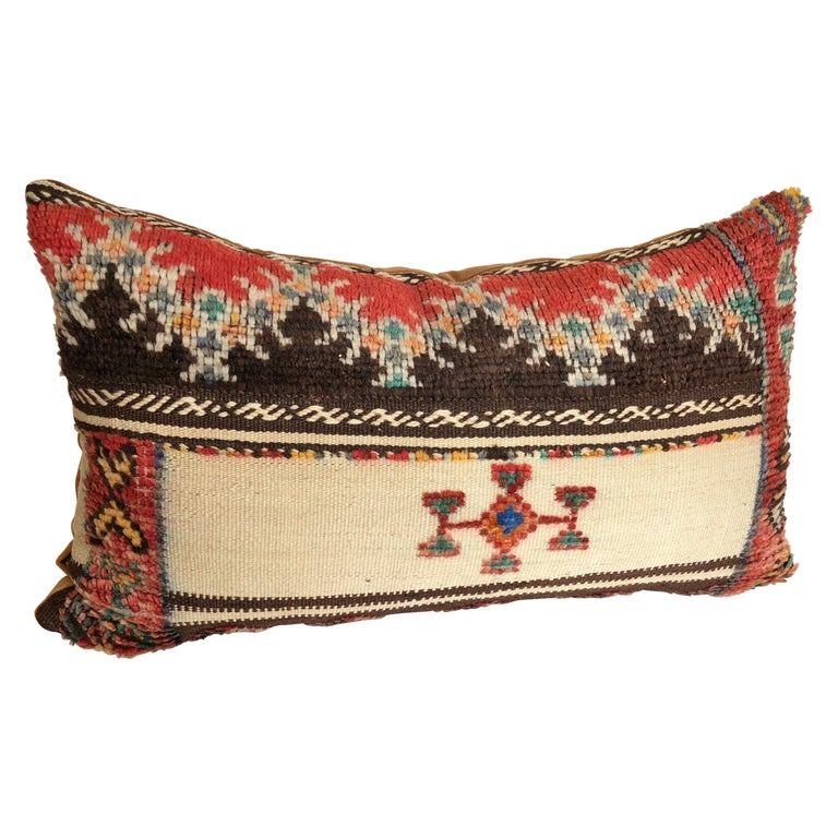 Custom Pillow Cut from a Vintage Wool Moroccan Glaoui Rug, Atlas Mountains For Sale