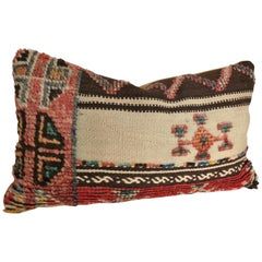 Custom Pillow Cut from a Vintage Wool Moroccan Rug, Atlas Mountains