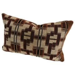 Custom Pillow Cut from an Antique Amsterdam School Textile, Netherlands