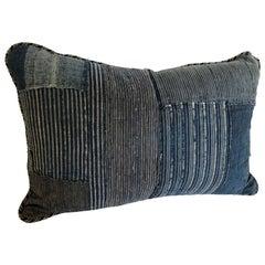 Custom Pillow Cut from an Antique Japanese Cotton Indigo Boro Textile