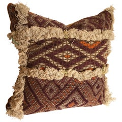 Custom Pillow Cut from an Antique Moroccan Hand Loomed Textile, Atlas Mountains