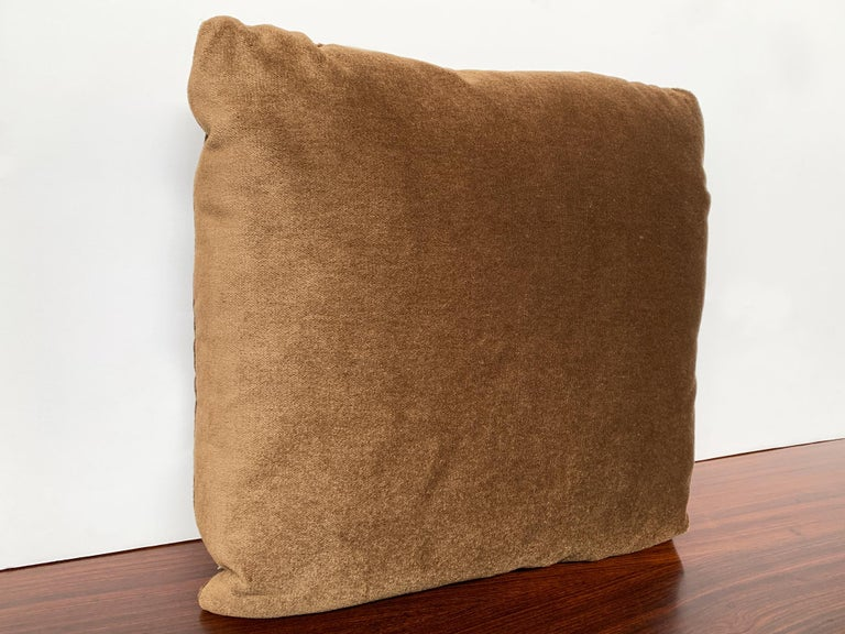 American Custom Pillow With Brown Mohair Velvet From Schumacher For Sale