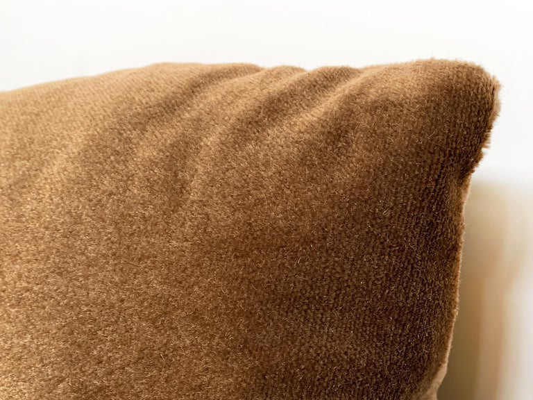 Custom Pillow With Brown Mohair Velvet From Schumacher In New Condition For Sale In New York, NY