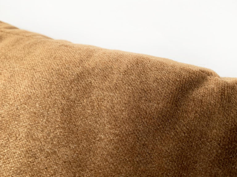 Contemporary Custom Pillow With Brown Mohair Velvet From Schumacher For Sale