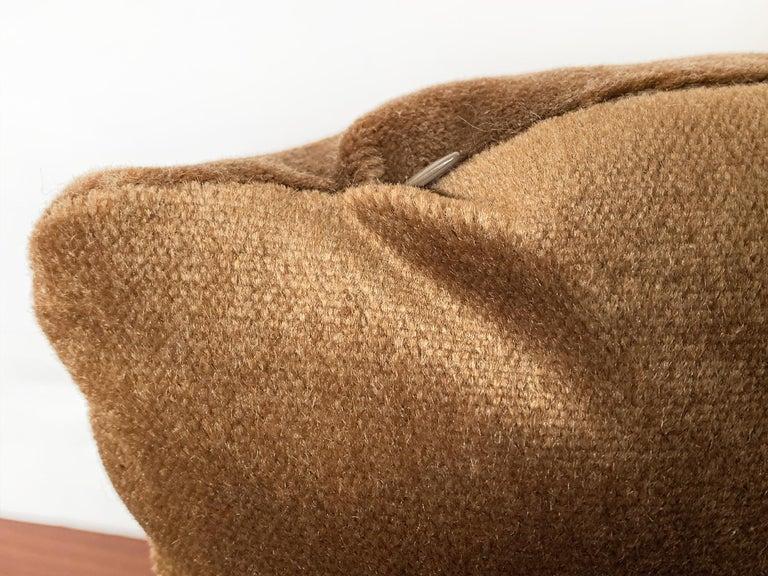 Custom Pillow With Brown Mohair Velvet From Schumacher For Sale 1