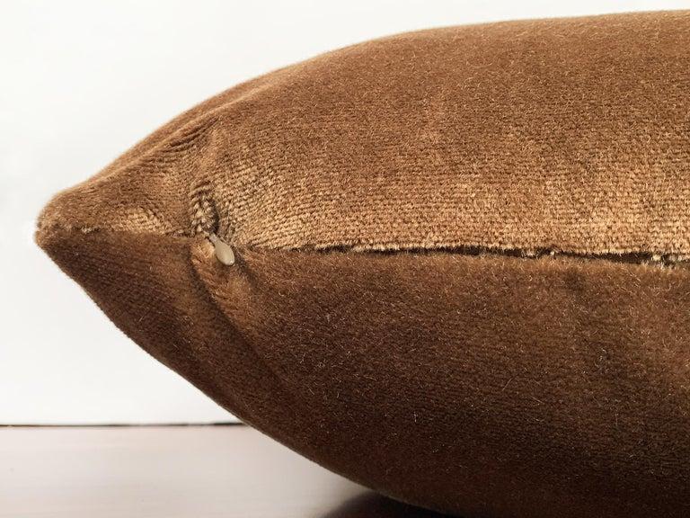 Custom Pillow With Brown Mohair Velvet From Schumacher For Sale 2