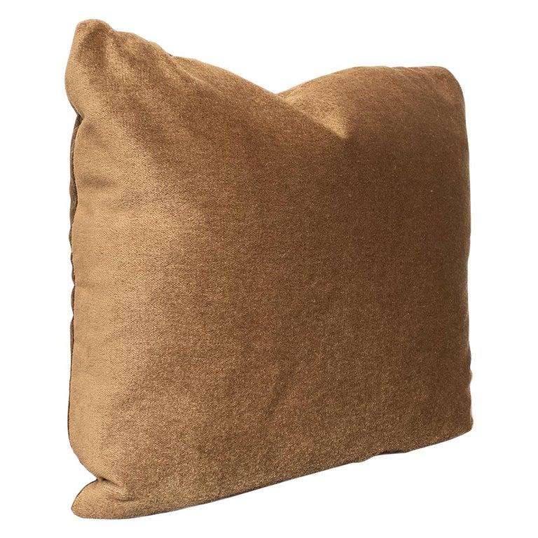 Custom Pillow With Brown Mohair Velvet From Schumacher For Sale