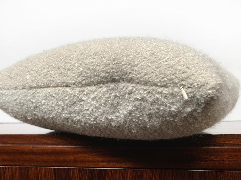 Contemporary Custom Pillow with Cream Bouclé from Schumacher For Sale