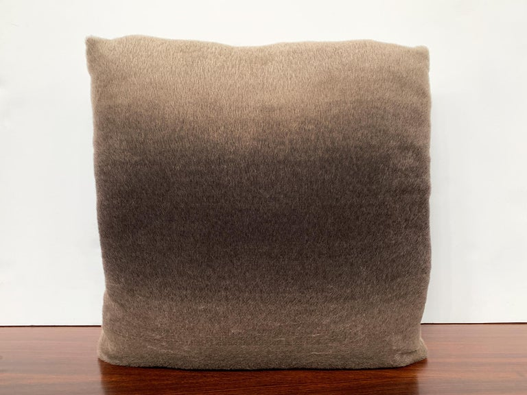 New custom made pillow with mohair velvet from Schumacher. The mohair is smooth and soft. It has a fabulous ombre effect that blends light brown and bronze tints together. Variations in tone are natural to this special fabric. The filling is a