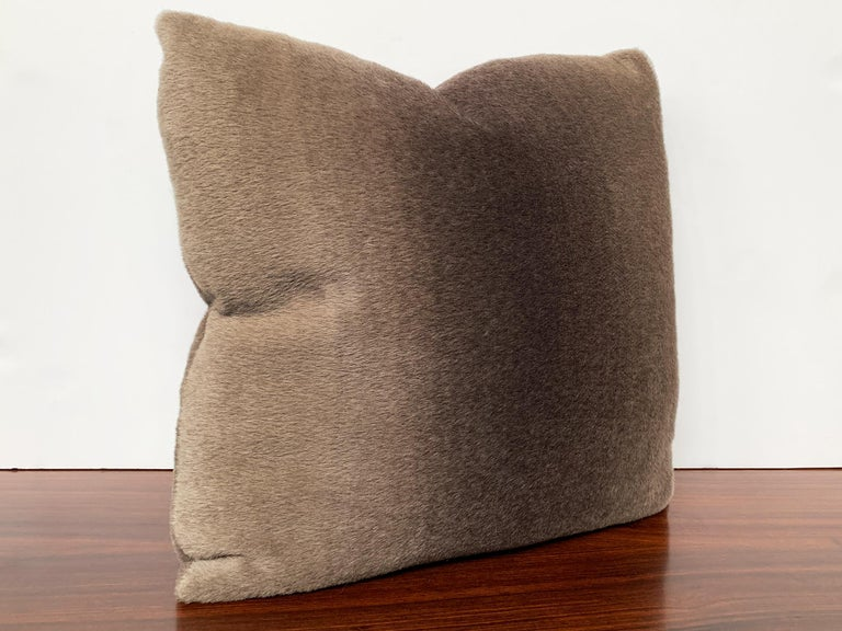 Custom Pillow with Schumacher Mohair Velvet In New Condition For Sale In New York, NY