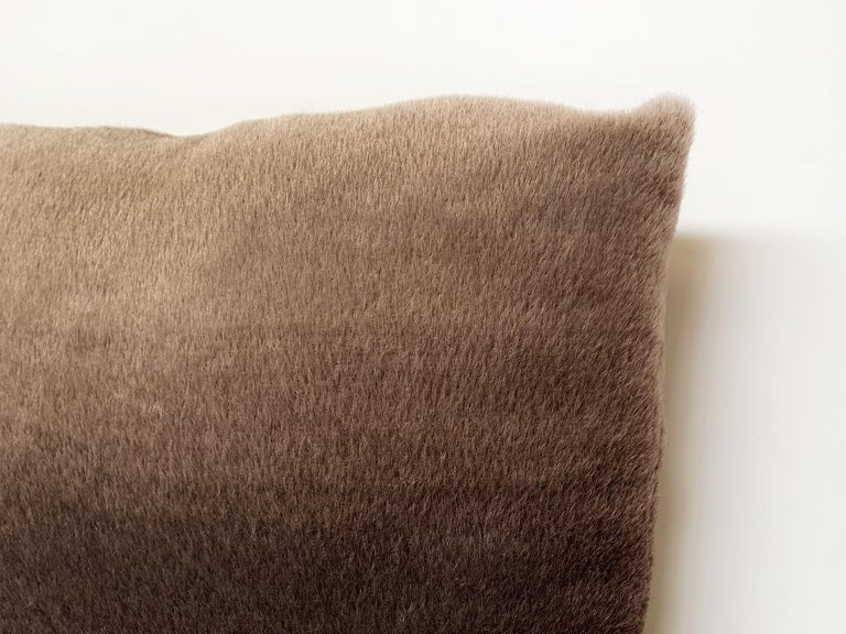 Contemporary Custom Pillow with Schumacher Mohair Velvet For Sale