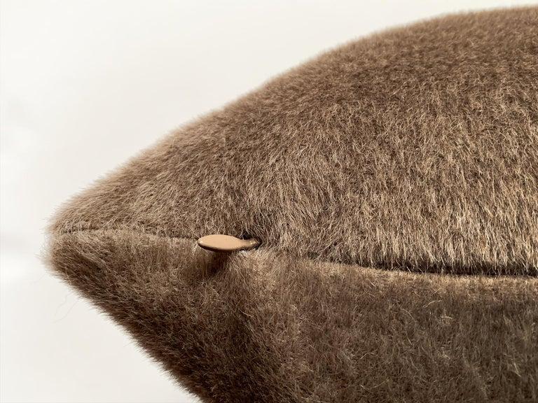 Custom Pillow with Schumacher Mohair Velvet For Sale 1
