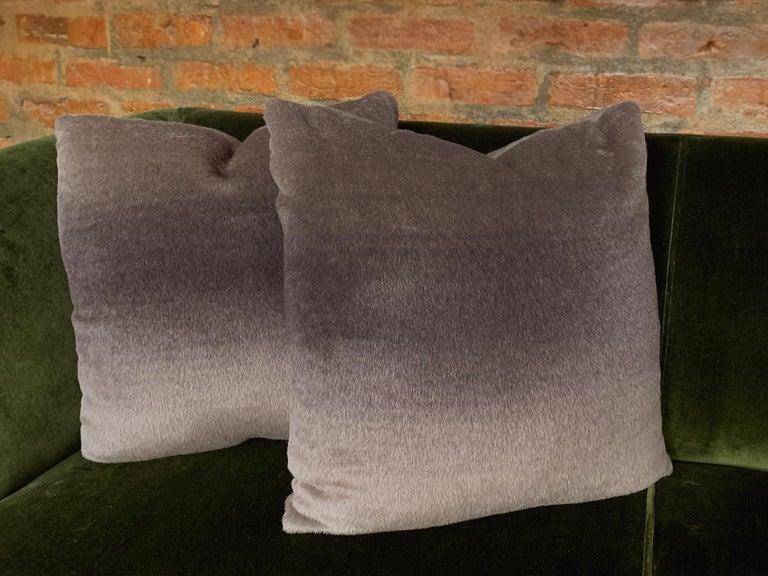 Custom Pillow with Schumacher Mohair Velvet For Sale 2