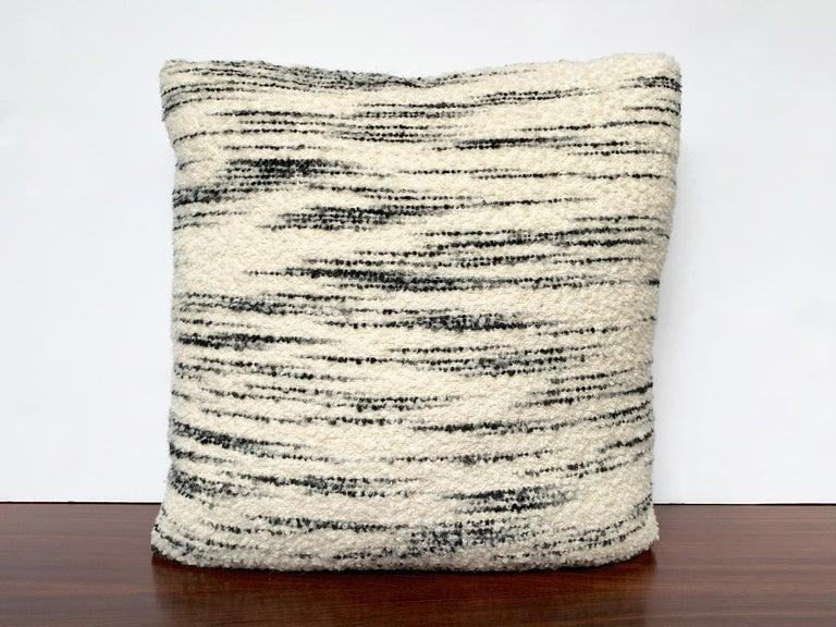 American Custom Pillow with Schumacher Stripe Bouclé Fabric For Sale