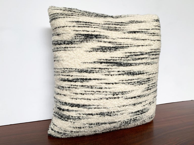 Custom Pillow with Schumacher Stripe Bouclé Fabric In New Condition For Sale In New York, NY