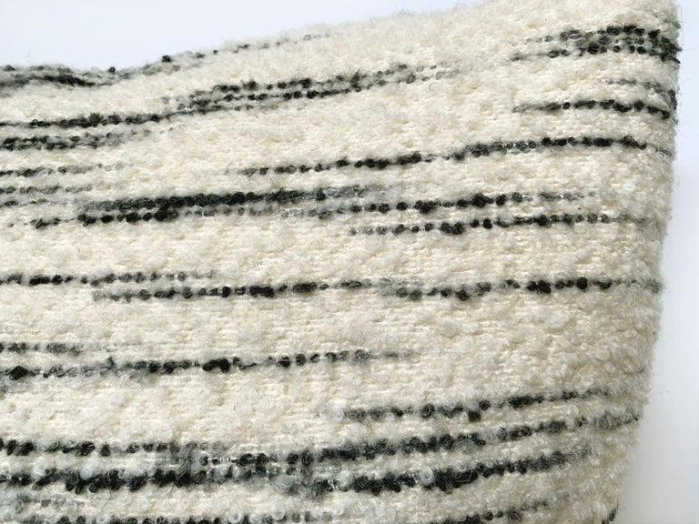 Contemporary Custom Pillow with Schumacher Stripe Bouclé Fabric For Sale