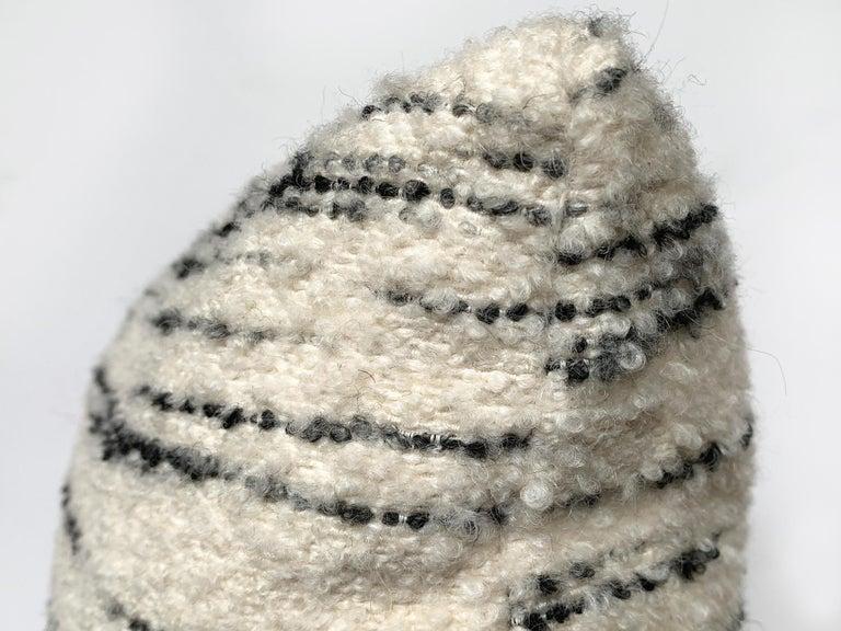Wool Custom Pillow with Schumacher Stripe Bouclé Fabric For Sale