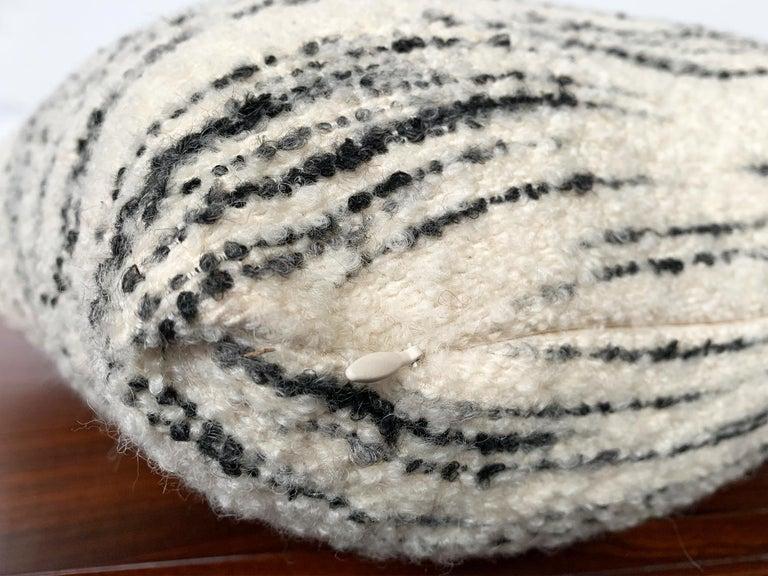 Custom Pillow with Schumacher Stripe Bouclé Fabric For Sale 1