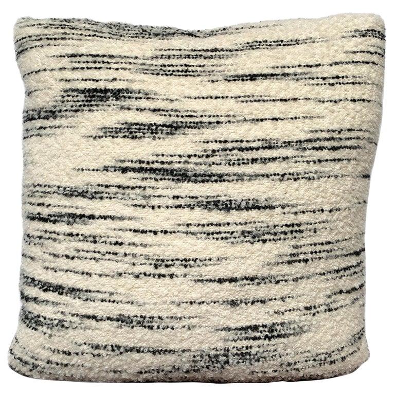 Custom Pillow with Schumacher Stripe Bouclé Fabric For Sale
