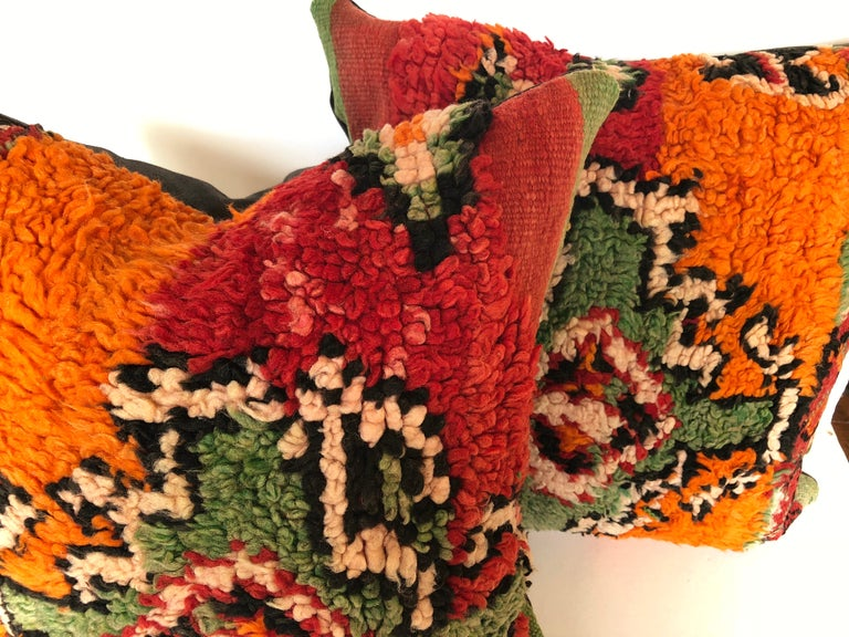 Custom Pillows by Maison Suzanne Cut from a Hand Loomed Wool Moroccan Berber Rug For Sale 4