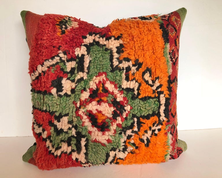 Tribal Custom Pillows by Maison Suzanne Cut from a Hand Loomed Wool Moroccan Berber Rug For Sale