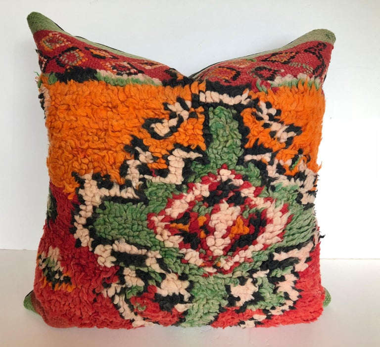 Hand-Woven Custom Pillows by Maison Suzanne Cut from a Hand Loomed Wool Moroccan Berber Rug For Sale