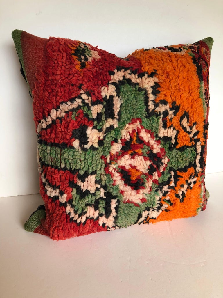 20th Century Custom Pillows by Maison Suzanne Cut from a Hand Loomed Wool Moroccan Berber Rug For Sale
