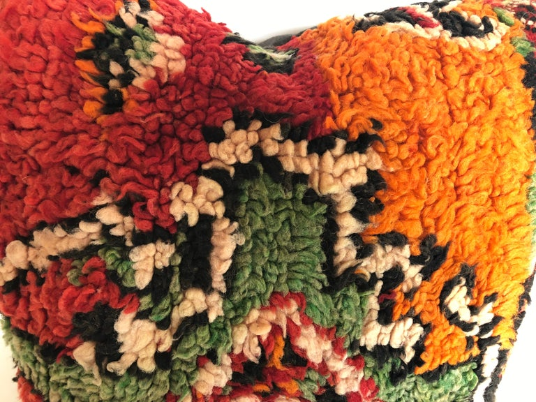 Custom Pillows by Maison Suzanne Cut from a Hand Loomed Wool Moroccan Berber Rug For Sale 1