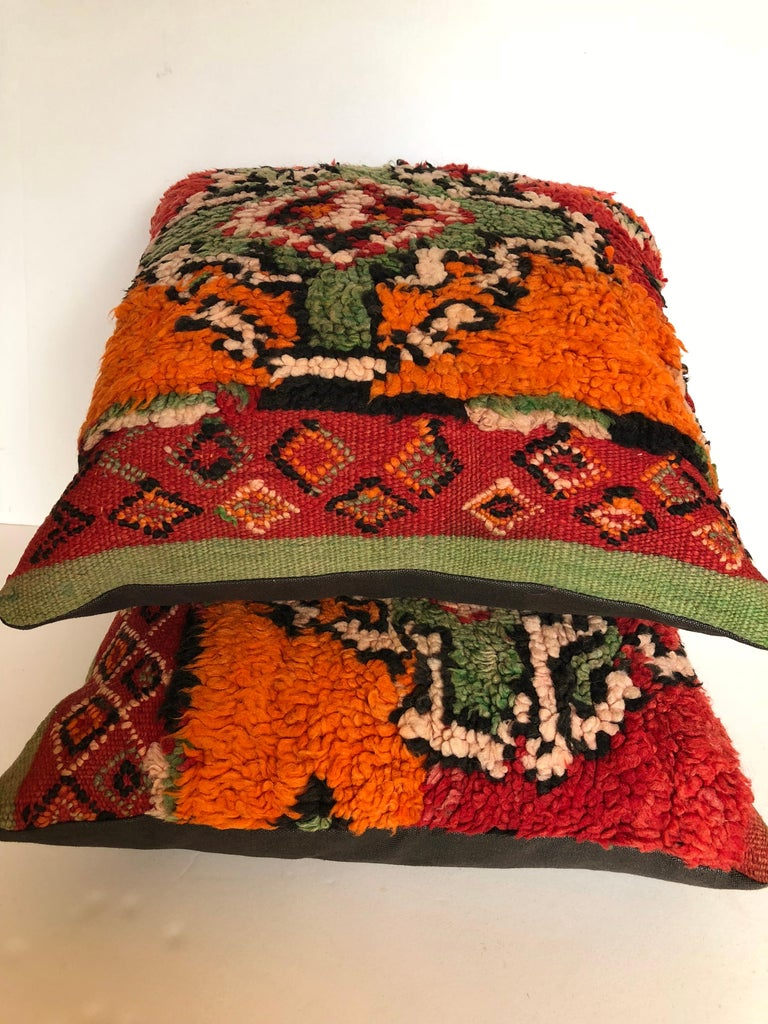 Custom Pillows by Maison Suzanne Cut from a Hand Loomed Wool Moroccan Berber Rug For Sale 3