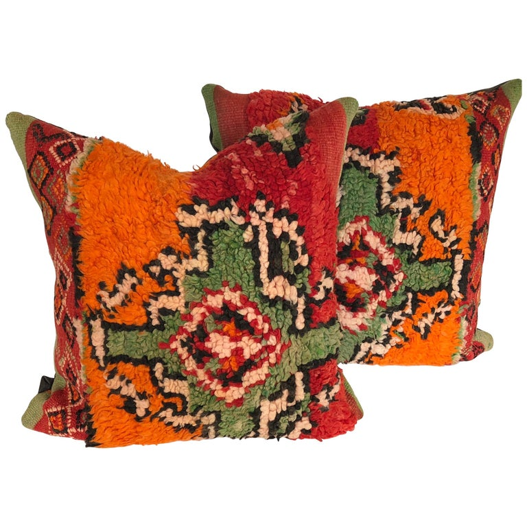 Custom Pillows by Maison Suzanne Cut from a Hand Loomed Wool Moroccan Berber Rug For Sale