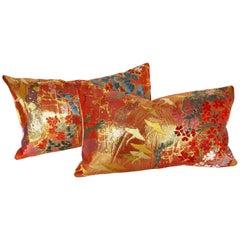Custom Pillows by Maison Suzanne Cut from a Vintage Japanese Silk Wedding Kimono