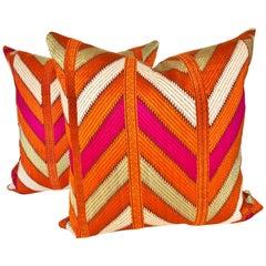Custom Pillows by Maison Suzanne Cut from a Vintage Phulkari Bagh Wedding Shawl