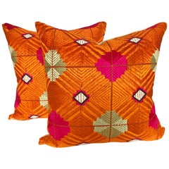 Custom Pillows Cut from a Vintage Phulkari Bagh Wedding Shawl