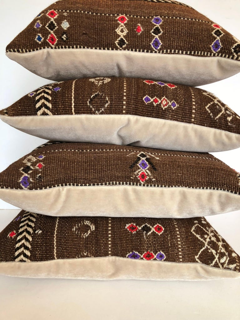 Custom Pillows by Maison Suzanne Cut from a Vintage Wool Moroccan Ourika Rug For Sale 4