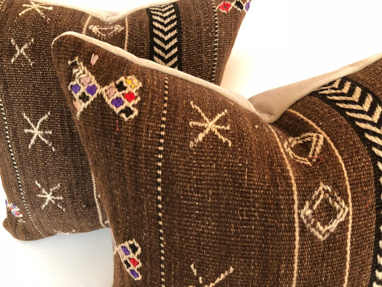 Tribal Custom Pillows by Maison Suzanne Cut from a Vintage Wool Moroccan Ourika Rug For Sale