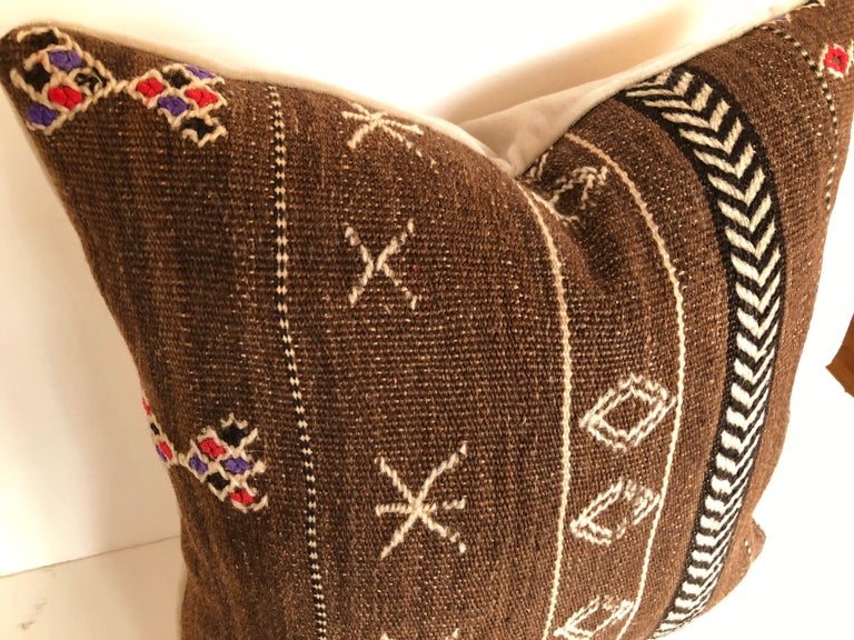 Custom Pillows by Maison Suzanne Cut from a Vintage Wool Moroccan Ourika Rug In Good Condition For Sale In Glen Ellyn, IL