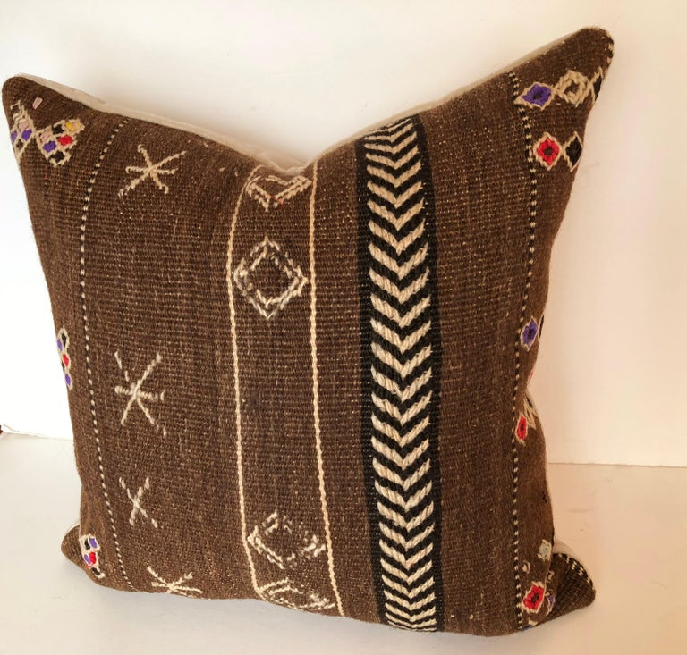 20th Century Custom Pillows by Maison Suzanne Cut from a Vintage Wool Moroccan Ourika Rug For Sale