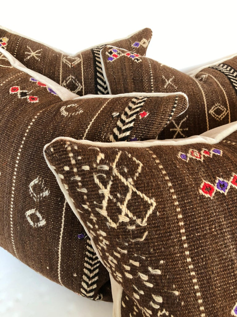 Custom Pillows by Maison Suzanne Cut from a Vintage Wool Moroccan Ourika Rug For Sale 3