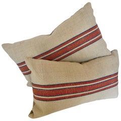 Custom Pillows Cut from a Vintage Handloomed Hemp and Linen German Grainsack