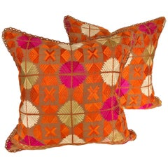 Custom Pillows Cut from a Vintage Silk Embroidered Phulkari Wedding Shawl, India